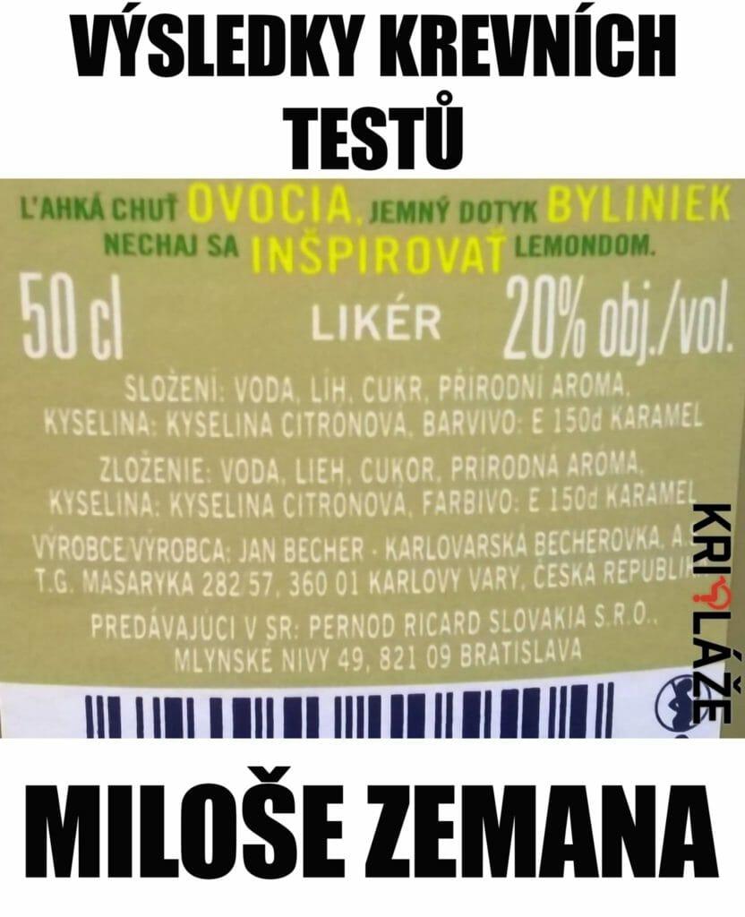 Krevní testy Miloše Zemana